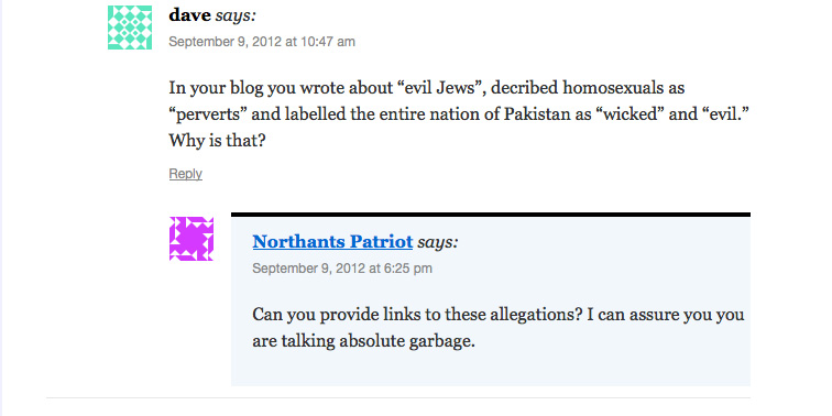 Peter Reynolds is asked about his racist and anti-Semitic blog writings