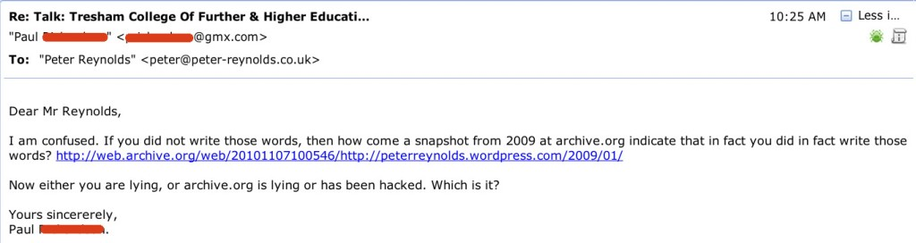 Email to Peter Reynolds.
