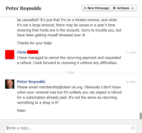 Part II - CLEAR member asks Peter Reynolds for refund.