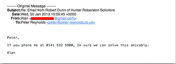 Email to Peter Reynolds