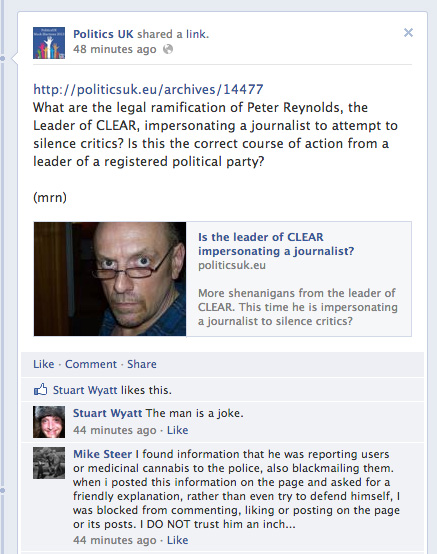 Critical post about Peter Reynolds Politics UK Facebook that Reynolds had removed.
