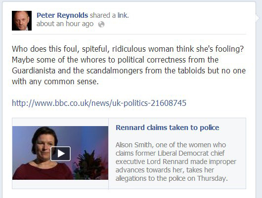 Screenshot from Peter Reynolds' Facebook page insulting Lib Dem activist, Alison Smith.