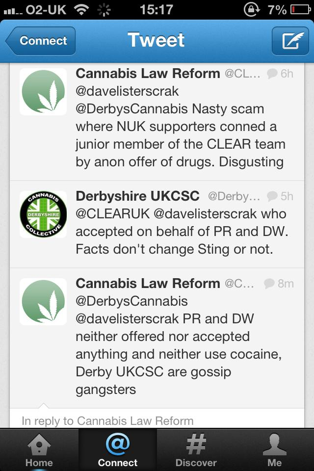Tweet from Peter Reynolds, leader of Cannabis Law Reform.
