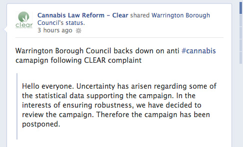 Facebook screenshot from CLEAR Cannabis Law Reform