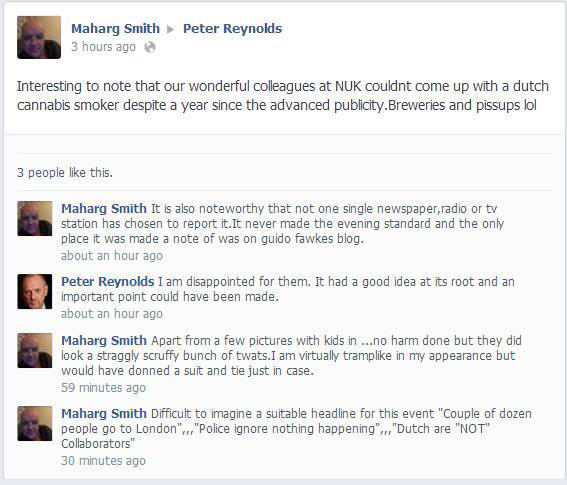 Graham Smith the anti-Semite writes on the CLEAR leader, Peter Reynolds, Facebook wall.