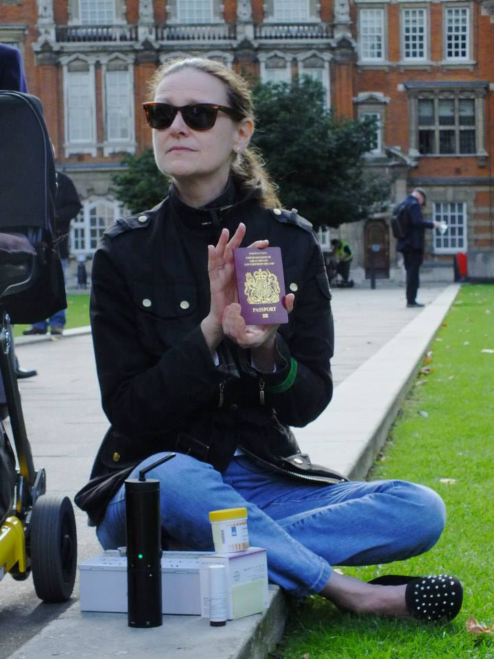 Ms X with her legal Bedrocan cannabis in London and supporting documentation.