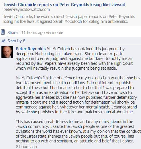 Peter Reynolds is not a happy bunny about losing libel action against Sarah McCulloch and being ordered to pay her costs.