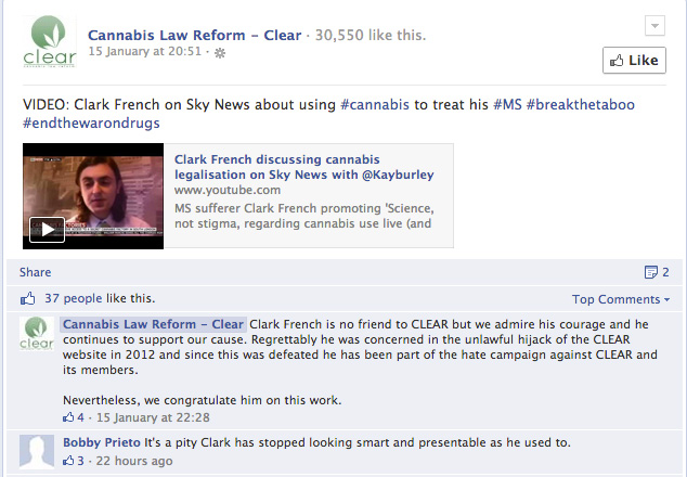 Peter Reynolds libels Clark French on the Cannabis Law Reform (CLEAR) Facebook page.