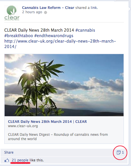 Peter Reynolds & CLEAR, Cannabis Law Reform, buying fake Facebook likes.