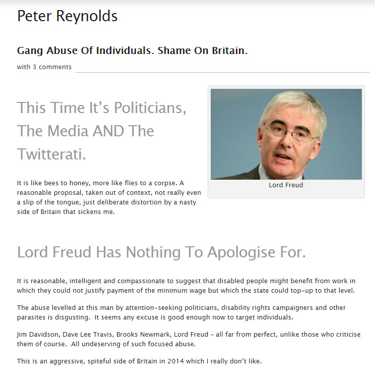 Peter Reynolds defends Lord Freud