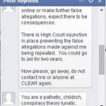 Peter Reynolds lies about a High Court injunction.