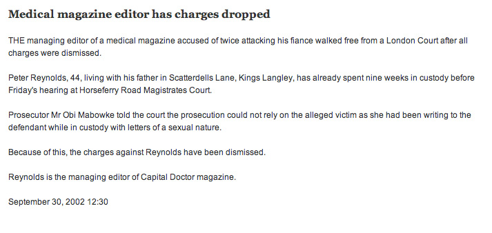 Peter Reynolds has charges of attacking a women twice dropped on a legal technicality.