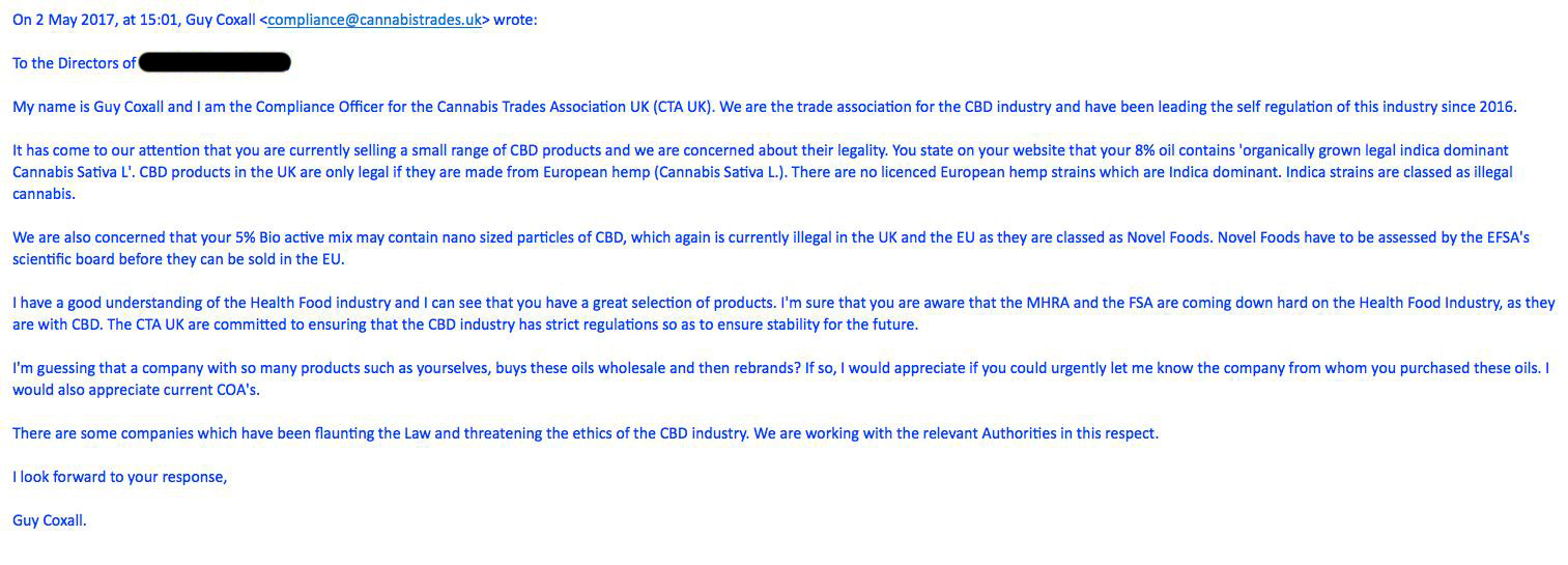 Threatening email from the Cannabis Trade Association.
