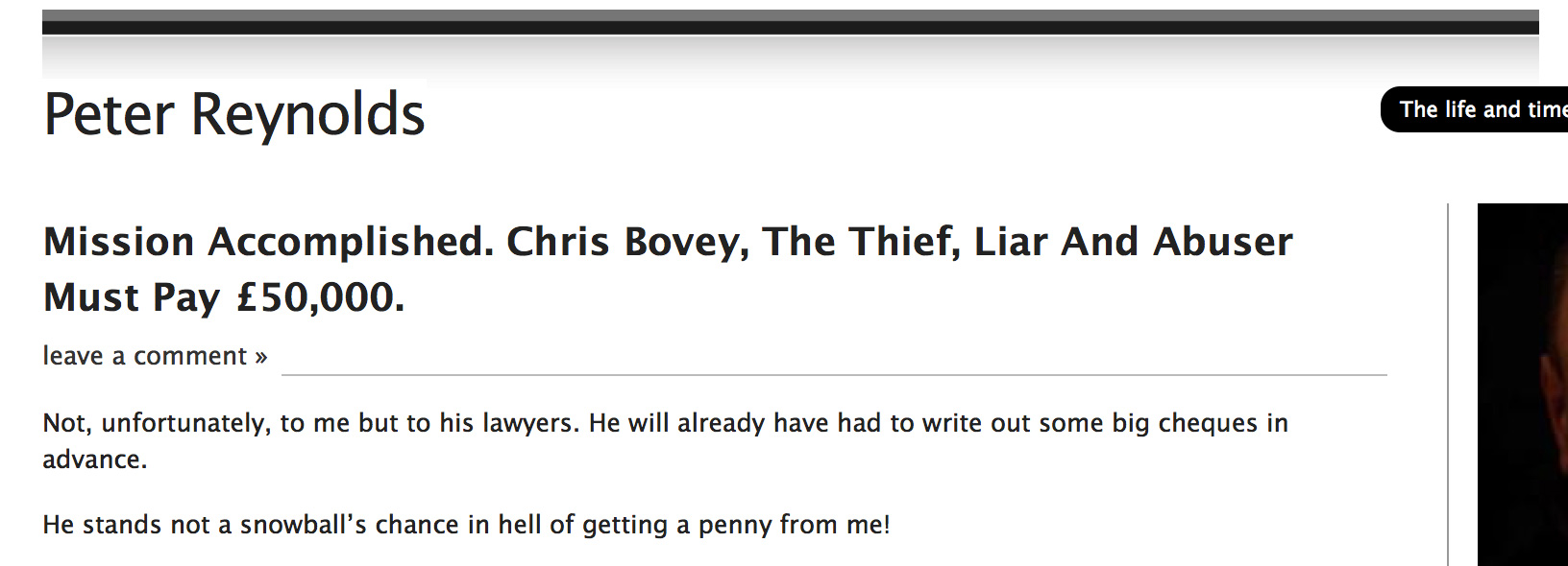 Defamatory screenshot from Reynolds' blog.