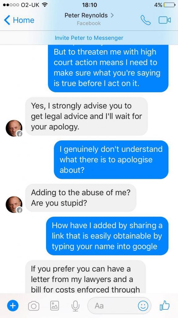 Peter again threatens someone with legal action.